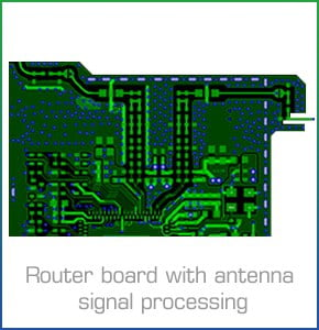 Router board with antenna signal processing